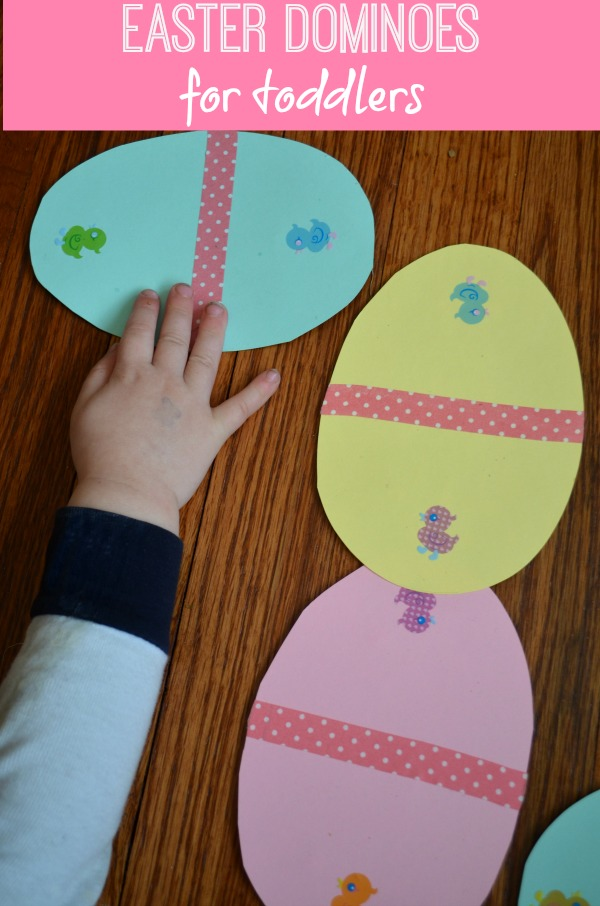 Easter Egg Dominoes Activity. Use a tape or market to divide the cardstock with Easter egg shape in two parts, choose 10 pairs of stickers of different colors. Each pair has the same color. Stick them on cardstock at both sides from the middle line. Select a card and find the matching card with the same stick to go ahead.