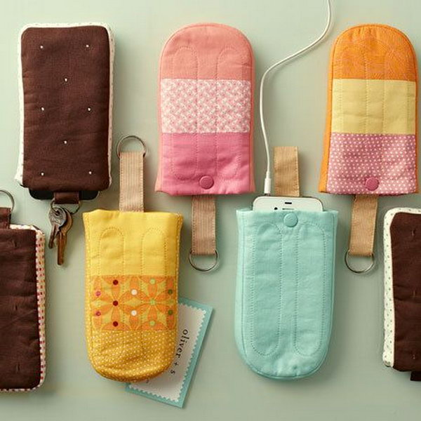 Icy treat cell phone holders. How many times the parents are in a hurry to get out the door that your phone and keys seem to go missing? These cute popsicles and ice cream sandwiches will help your parents stay organized.