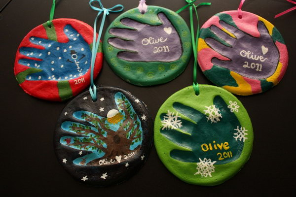 Salt Dough Handprint Ornaments. Make these colourful handprint ornaments with salt dough. They are not only cool gifts for parents. Kids will also have a lot of fun though playing in dough and flour.