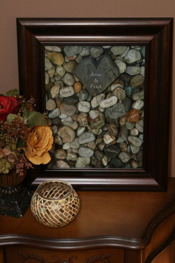 Family tree. It's an twist on a traditional family tree and makes a great Thanksgiving gift. After you have writed your parents'name on the heart-shaped rock, write your siblings' and your own name on small rocks.