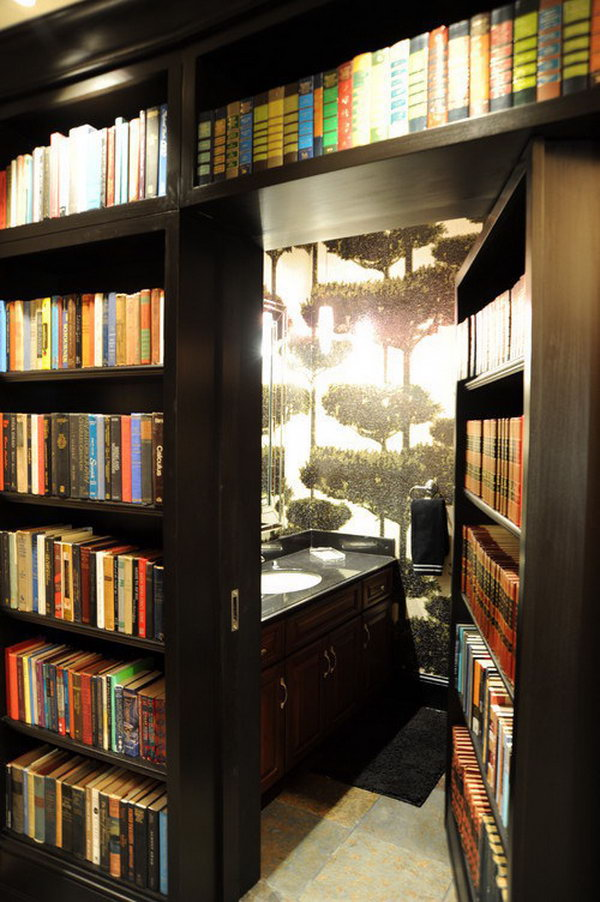Chamber of secrets. This is a seriously sneaky design that will make you feel like a spy. You need to make shelves which fit inside your door frame.