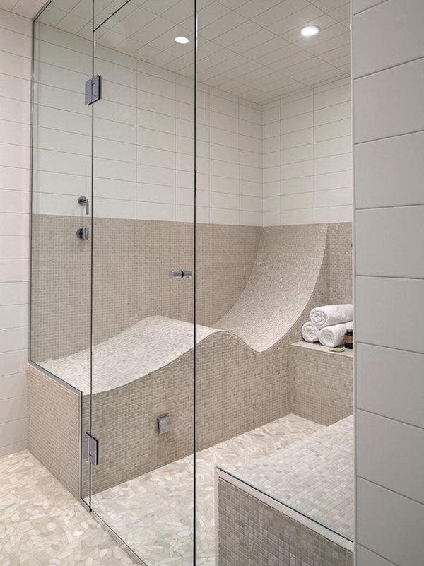 Letter S-shaped seat. An S-shaped seat turns your shower or steam room into one that you can lie down in.
