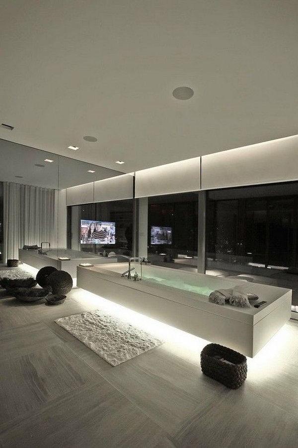 Modern bath. This silver bath in a modern house make you feel living in the future.