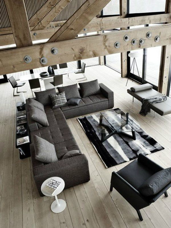 Gray living room for men. Many people consider interior design or decorating fields suitable for women and not for men. Clean gray lines and cologne is a fantastic living room idea.