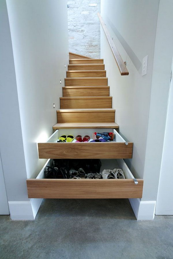 Stairs drawers. In order to keep your house clean and tidy, hide all the eyesores in your home with these easy tricks(like stairs turned into drawers for shoes).