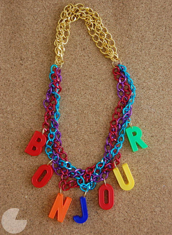 DIY Alphabet Necklace. DIY this stunning alphabet necklace to make a beautiful decor. You can personalize your own with your name or spell out the word you love.