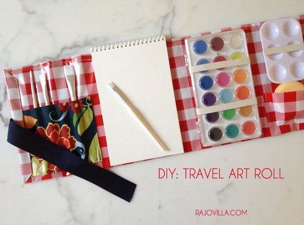 Mini Art Roll. This mini art roll is perfect for you to pack up everything when travelling. It includes a paint brush holder, a sponge pocket, an assembling art roll to get your travelling essentials organized.