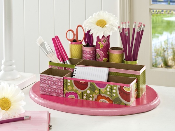 Back To School Desk Organizer. Trace your compartment on scrapbook paper and cut it out. Use craft glue to assemble the beautiful wrap-up for the compartment to give off its stunning outlook.