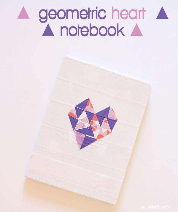 Clipboard Makeovers with Washi Duct Tape. Cut out triangles from Washi and Duct tape and fill the heart with them on the mat in puzzle pieces. It's perfect to make the note book cover with this geometrical heart design.
