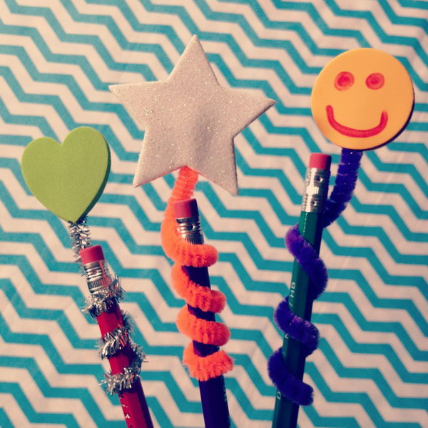 Pipe Cleaner Pencil Toppers. Attach two stickers on the pipe cleaner, line up pipe cleaner with a pencil. It's so simple to spice up a plain pencil and send the kids back to class in style.