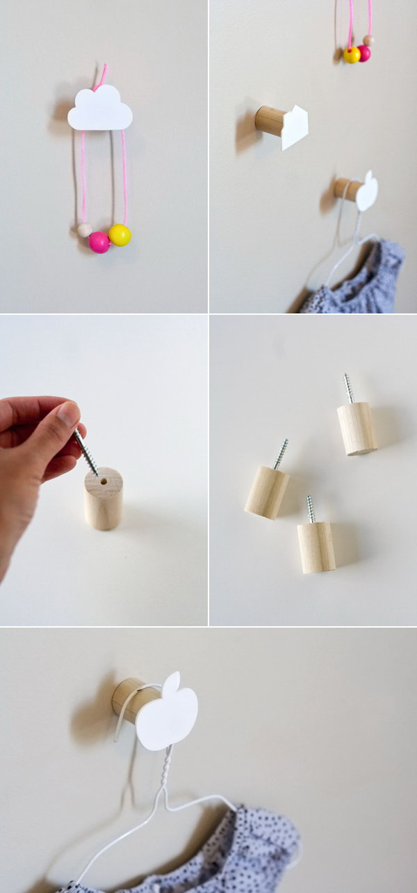 Cute Wall Hooks. Place the wood screw inside the hole of the wooden stick. Attach cardboard or rubber in cute shapes to anchor to the wall to hang your things. Every family must like its adorable outlook as well as helpful usage.