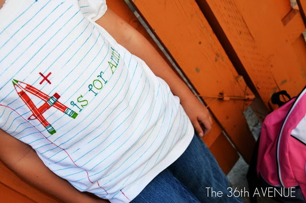 Back To School Name T-Shirt. Mark the horizontal lines with blue sharpie and the red one with red sharpie. Add some pattern with the help of vinyl. Kids must love this personalized T-shirt.
