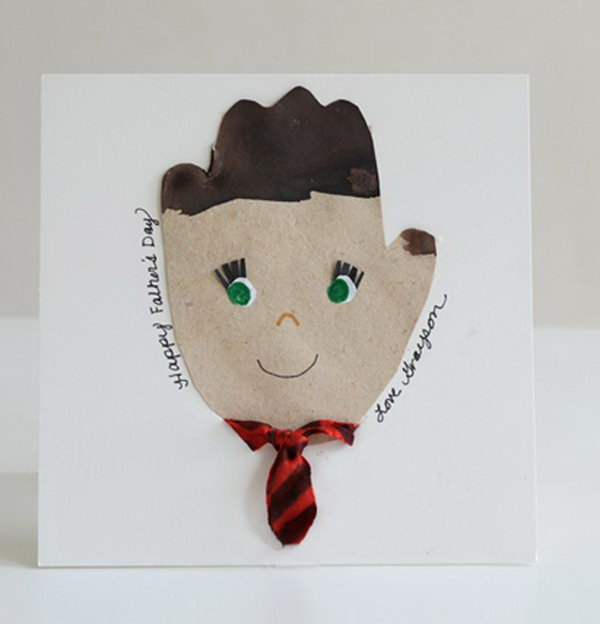 Hand Print Father's Day Card with a Fabric Necktie