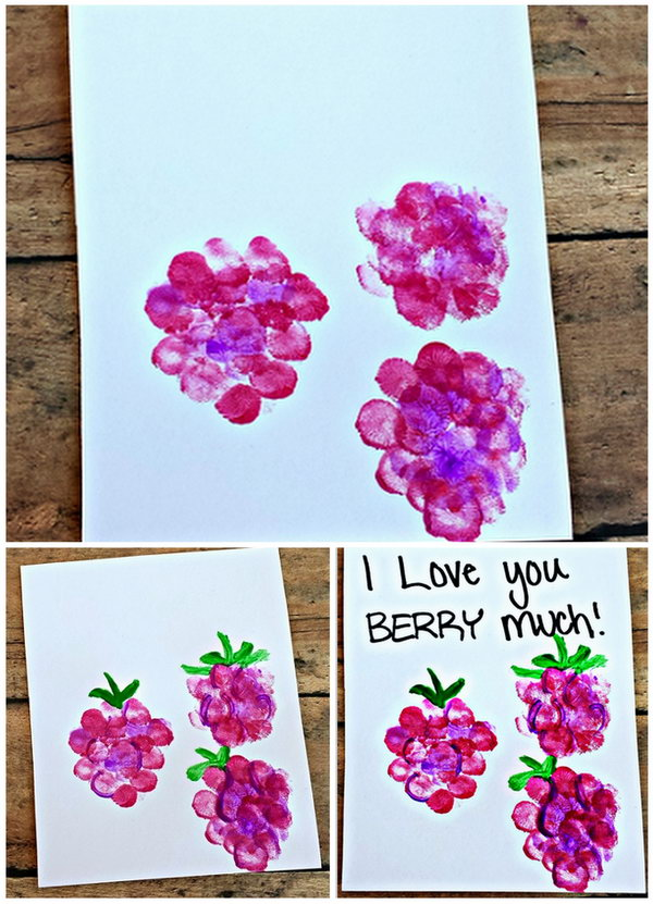 I love you berry much Fingerprint Card. How cute the card is. The children just have to use their fingerprints to make these adorable raspberries! See the tutorial here.
