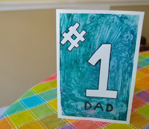 Hand-Painted Number 1 Father's Day Card
