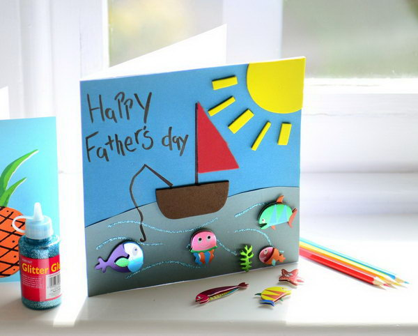 A Fishing Card. This is a quick project need no more than 30 minutes to feature with kids.  And it's really colorful and impressive. See the step by step here.