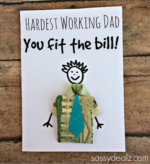 Dollar Bill Origami T-Shirt Father's Day Card