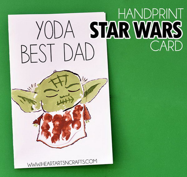 HandPrint Yoda Best Dad Card