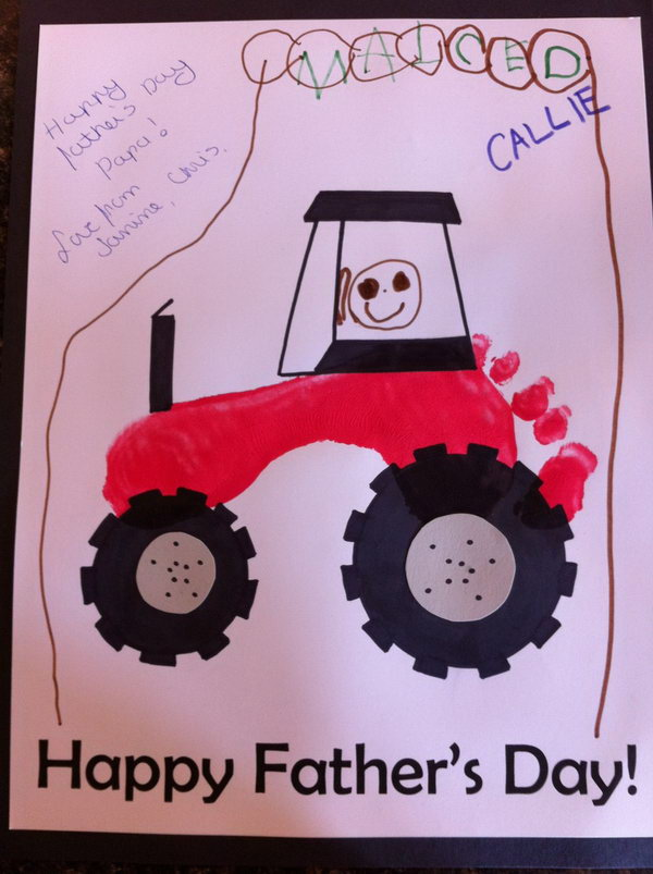 DIY Footprint Tractor Father's Card