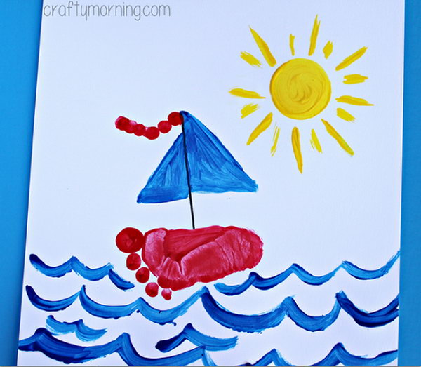 Footprint Sailboat Craft for Kids to Make.