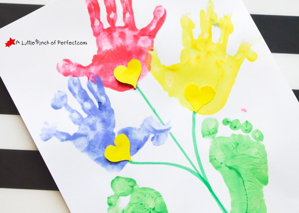 Handprint and Footprint Flower Craft.