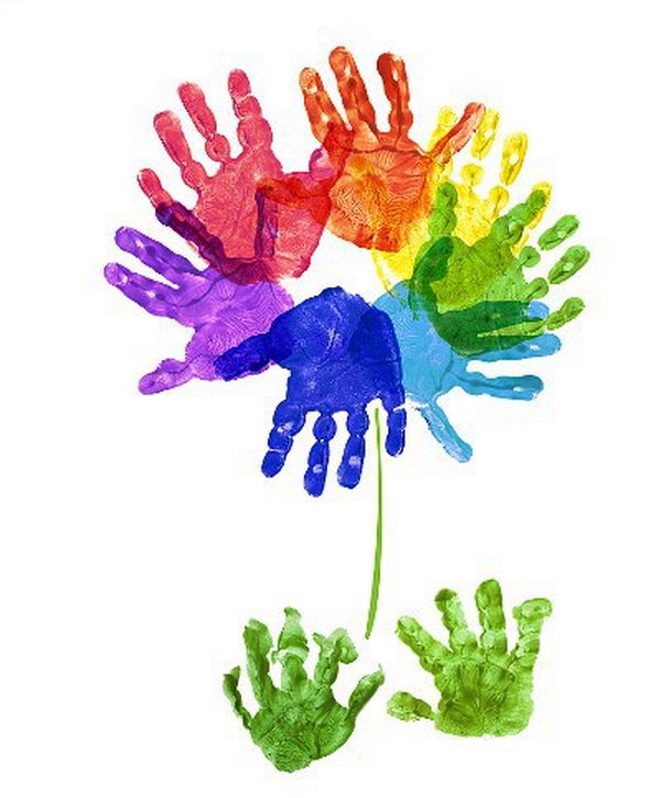 Rainbow Handprint Flower.