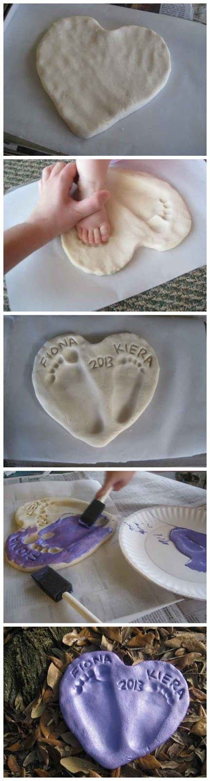 Salt Dough Footprint Heart.