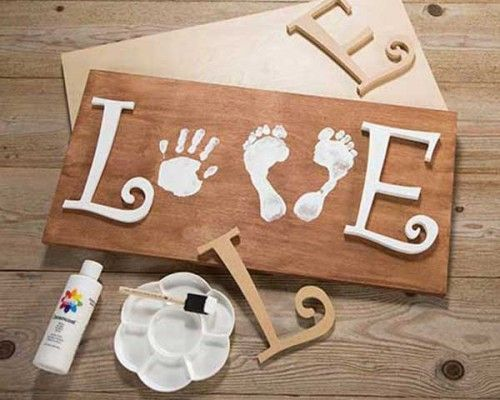 Love Sign Art with Child's Prints.
