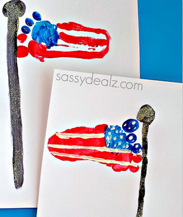 Footprint American Flag Craft for Kids.
