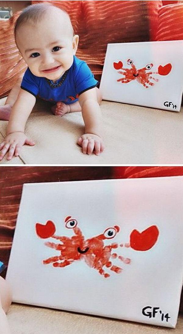 Handprint Crab Craft .