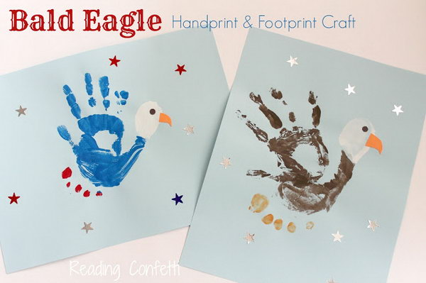 Bald Eagle Handprint and Footprint Craft.