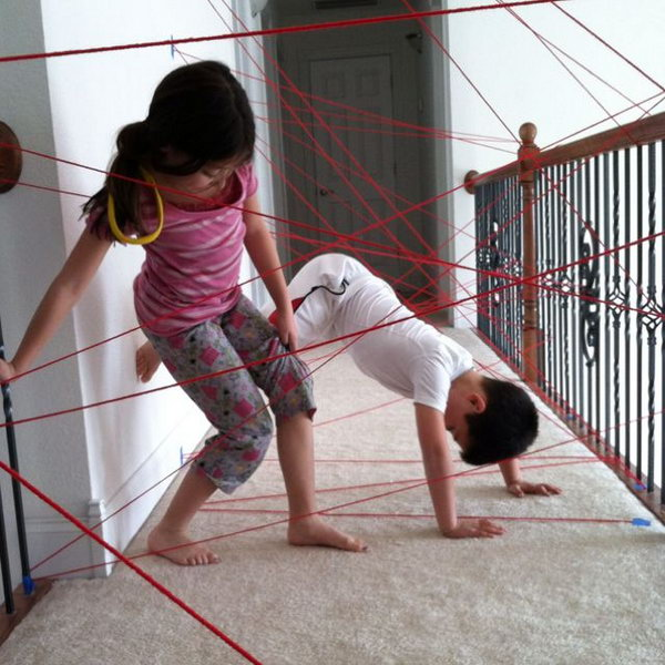 Game of Spay Training. Prepare some simple household items like yarns or colored masking tapes and well place them in your house. It will be a great challenge for kids to see who can pass through the lasers without touching them.