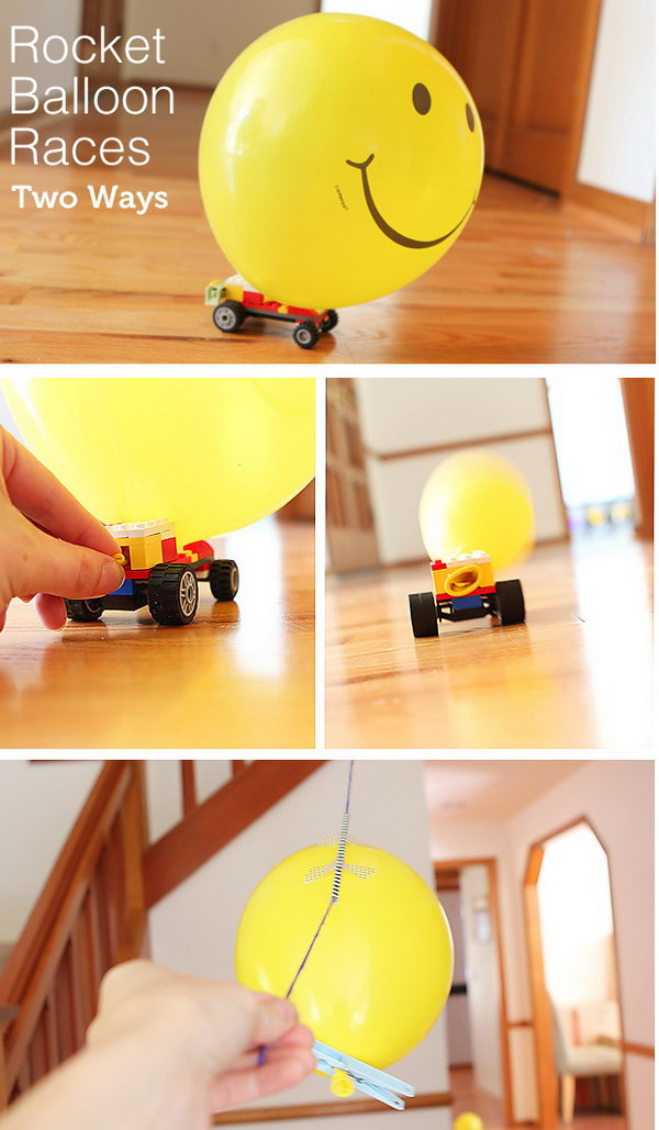 Balloon Powered Races. Kids always love balloons.  Round up some balloons, strings, and LEGOs to create this activity of  balloon powered race. This project may take a little more work, but the end result is a day full of  happy memories for your little ones.  Learn more here.