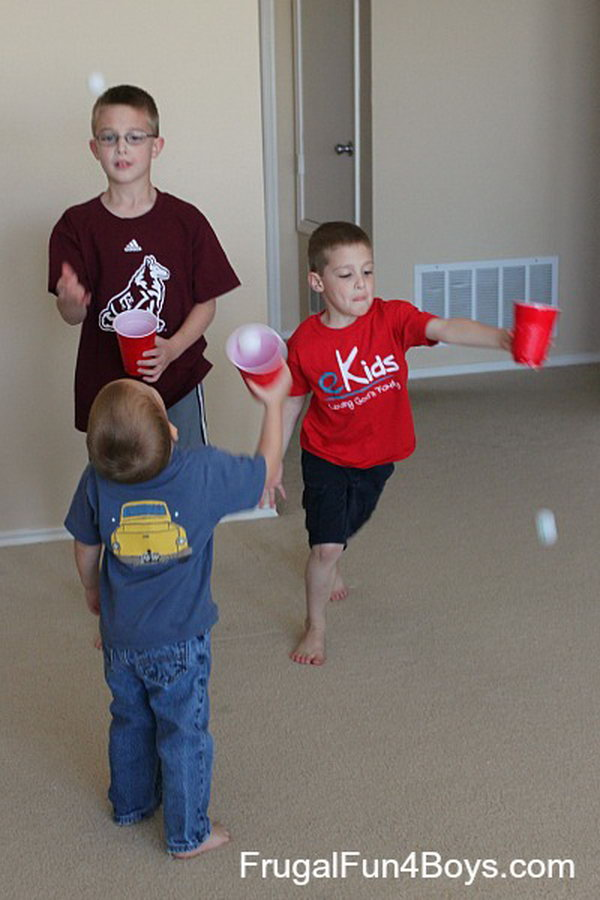 Ping Pong Ball Catching. This ping pong ball catching game is  so easy.  Both  preschoolers and elder kids can play it and enjoy it. They have different patterns to play with this simple game. Toss the balls to each other and catch them in the cups, or play this game by just tossing the ball up in the air and catching it.  Or, swing the cups to launch the ball.