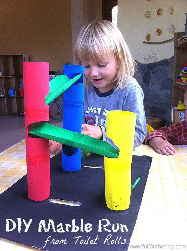 DIY Marble Run from Toilet Rolls. If your kids love marble runs, it's great to find a version  about DIY marble run that  your  kids could create.