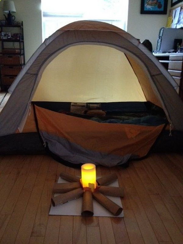 Have a campout indoors. It's a creative activity for kids to go camping indoors, while being more safely. Your kids will have fun in crafting their campfire and  be enjoyable  to spend the night in his own tent.  See more here