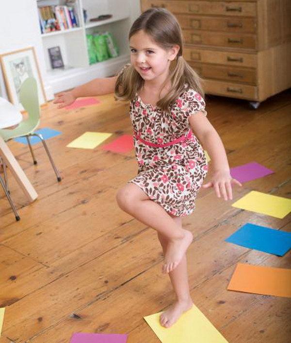 Game with Color Walk. Get your kids off the couch and exercise with this jumping game. Have a stack of paper with different colors lay down in a path all through the house. Keep colors separate. Kids will be enjoyable to challenge various jumping patterns. Say, can she make it from one end of the house to the other just by stepping on certain colors?
