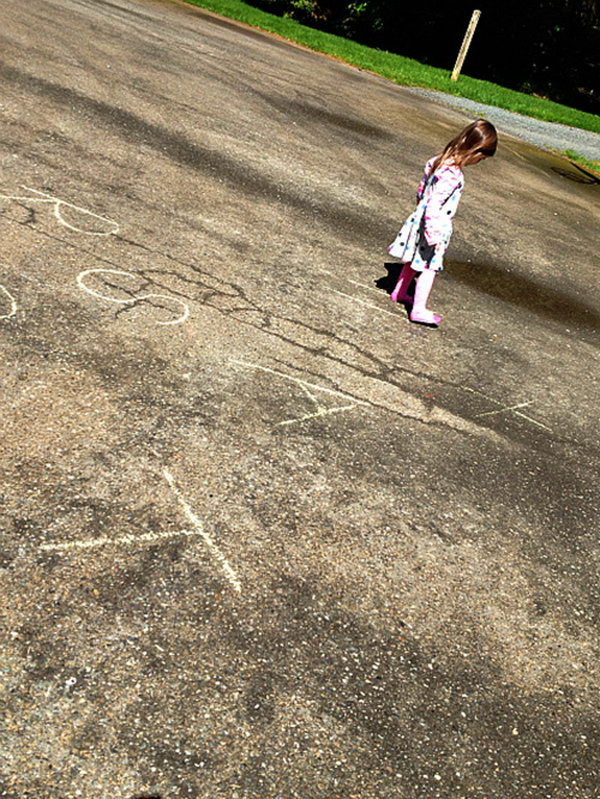 Find the Letter Activity. Drawing letters using chalks. Call a letter and ask your kids to run to the specified letter. It's easy to grasp knowledge about letters in such a funny activity in summer.