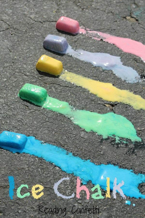 Ice Chalk. Mix up sidewalk paint, water, food coloring into the ice cube tray and freeze it. These ice chalks are great to make art, science and sensory experience for your kids to have fun on hot days.