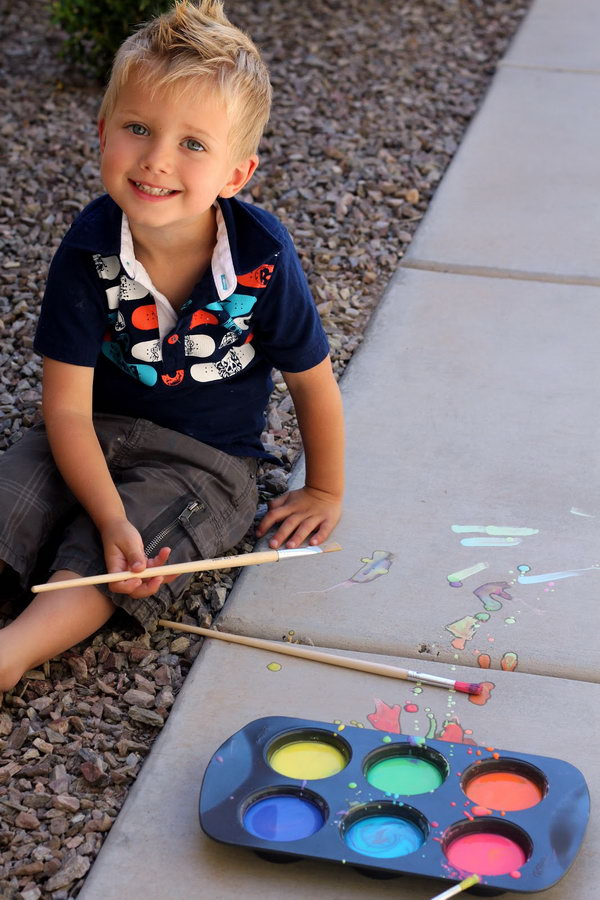 Liquid Sidewalk Chalk. Mix water with cornstarch, add food coloring to make the colors as you like. It's time to use your imagination to create liquid sidewalk chalk art on a hot summer day for fun.