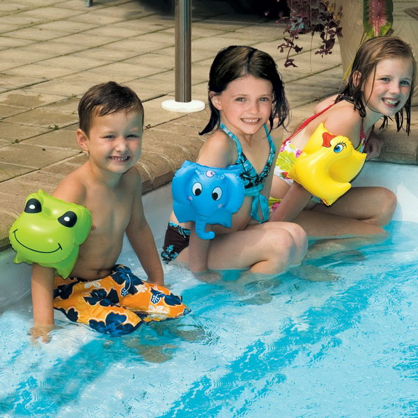 Animal Swim Arm Bands. The same with the float suit. These really fun animal swim arm bands will be a great way to keep kids afloat when they play in the water.