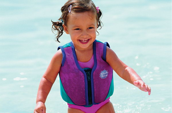 Splash about Float Suit. Make sure that your kids wear a float suit every time they play in the water.