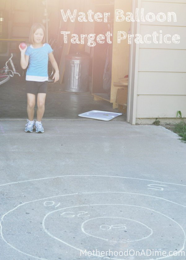 Water Balloon Target Practice. This game works perfectly for the taste of boys and girls alike. Draw a target or circles  with sidewalk chalk and ask kids to toss the balloons as close to the center target as the can.
