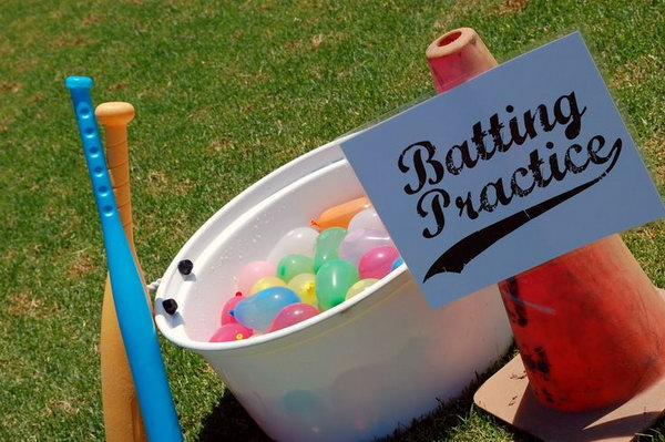 Water Balloon Batting Game. The game goes like this. Designate one person to throw water balloons to the player. The players should bat the water balloons. Count who break the most water balloons. It's so great to get active in this funny way.