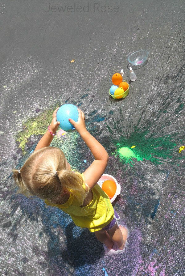Sidewalk Splat Painting. Mix cornstarch, water, food coloring into the pumponator and shake it well. Attach each balloon to the end, pump and fill. All the kids must enjoy throwing the balloons to create art and raise their aesthetic sense.