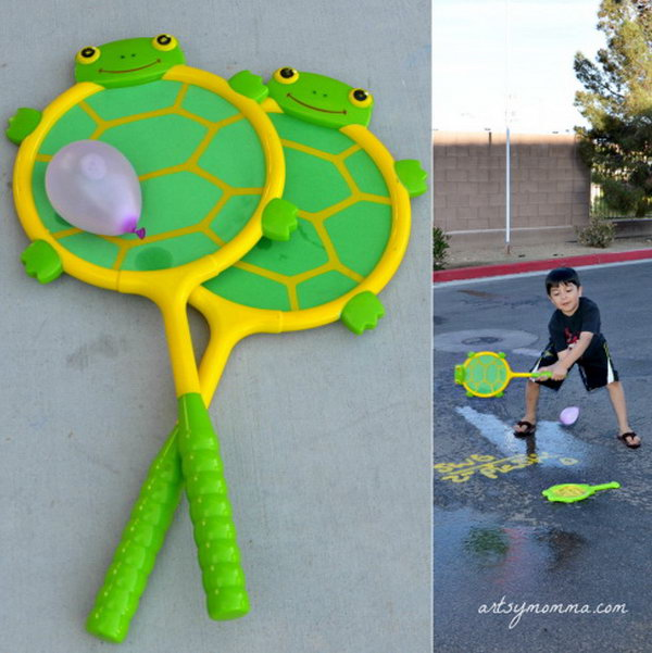Hit balloons with racket. It's time to play tennis with turtle racquet and ball set. Just ask your kids to hit the balloons with the racket to make a splash somewhere. The kids must be very thrilled to see them breaking and have a lot of fun.