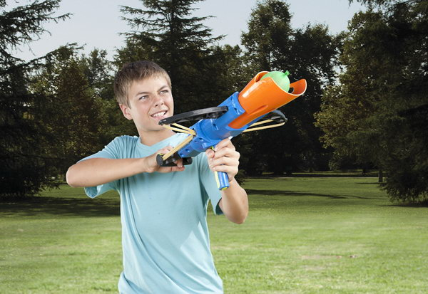 Crossbow Water Balloon Launcher. Unfold the launcher, place your water balloon in the launcher and fire it away. Kids would surely love this idea to rain water on their friends.