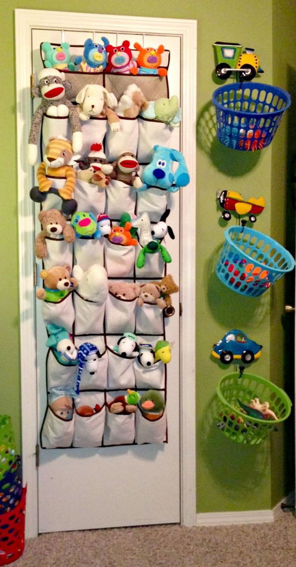 Stuffed Animals In Shoe Organizers And Hang Laundry Baskets For Toys