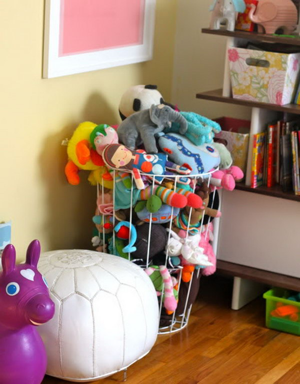 Use a Plain Trash Can as a Place to Hold Stuffed Toys
