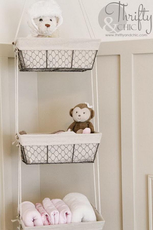 DIY Wire Hanging Storage Baskets